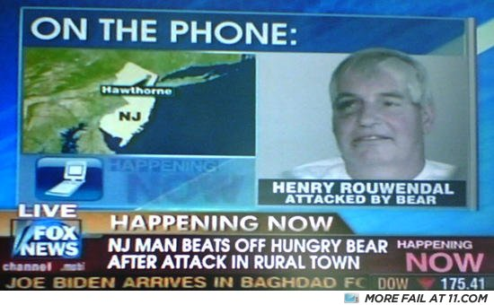 - NJ MAN BEATS OFF AFTER HUNGRY BEAR ATTACK IN RURAL